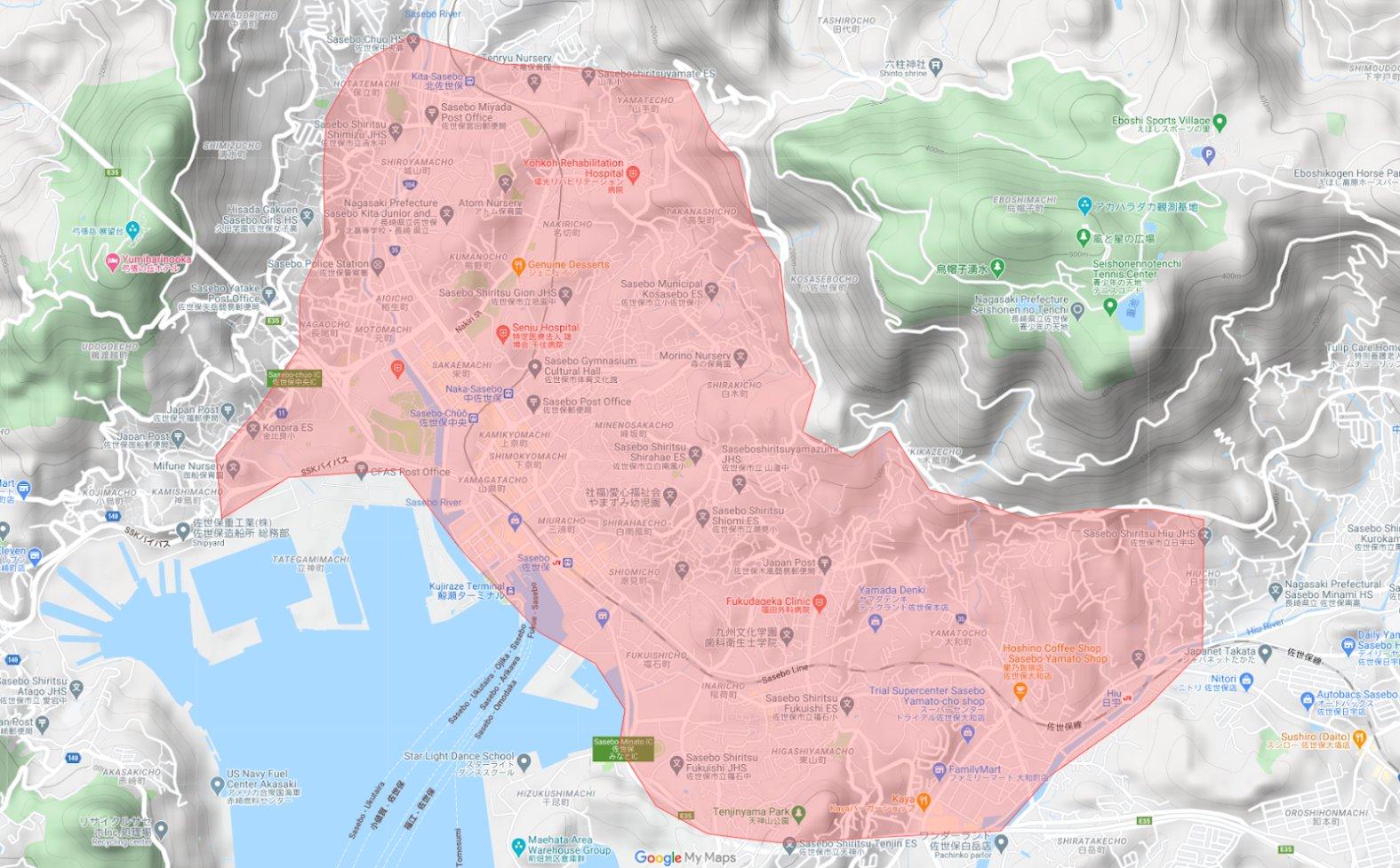 ウーバーイーツ佐世保エリア2021年の2月18日からのマップ・地図