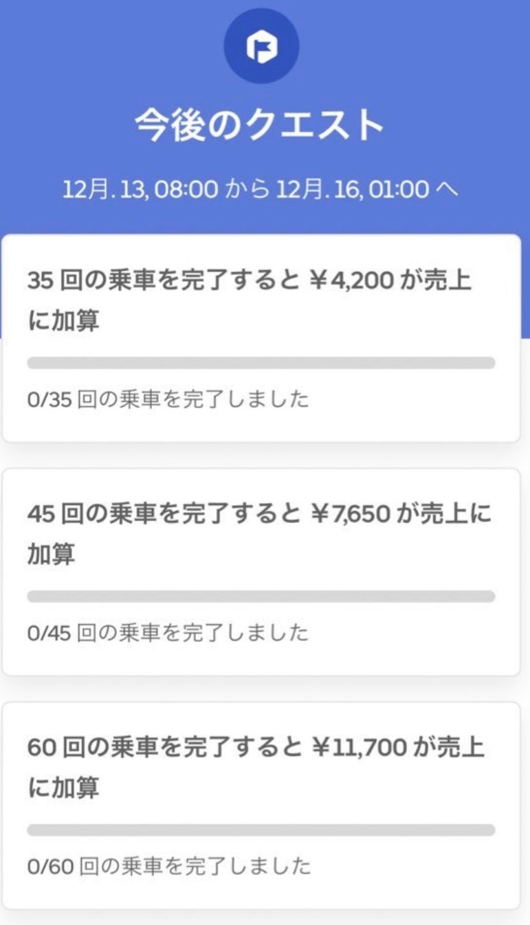 Uber Eats(ウーバーイーツ)特別配達インセンティブ(クエスト)例3