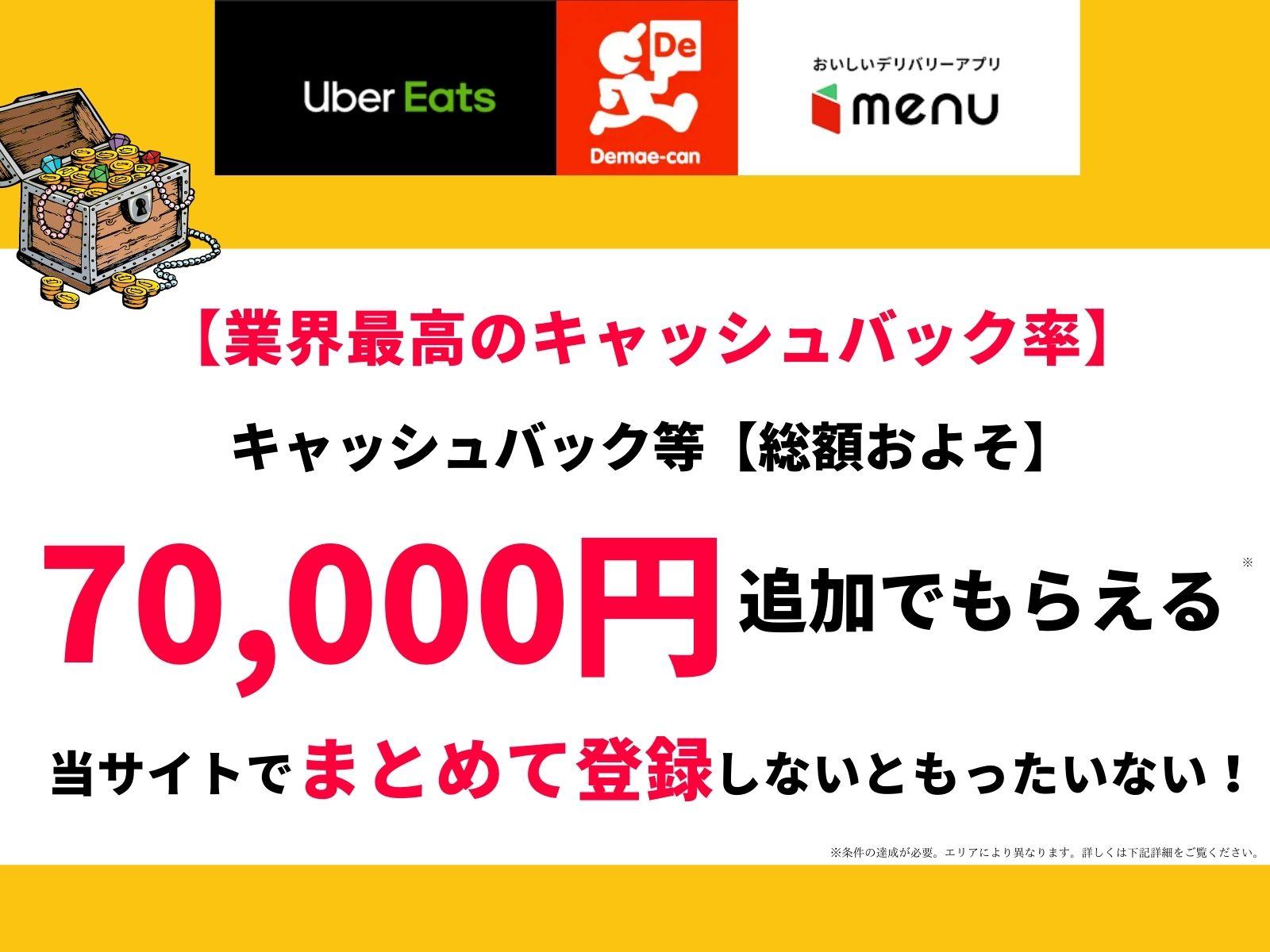業界最高のキャッシュバック率まとめて登録がお得70000円総額